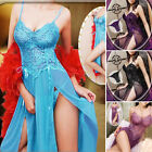 Women Sexy Lingerie Lace Long Dress Robes Babydoll Sleepwear Nightwear G-String