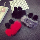 Women Fur Fluffy Slippers Slides Mules Sandals Feather Slip On Thick soled Shoes