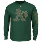 Oakland Athletics Majestic Up And Over   T-Shirt - Green