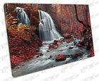 Print on Canvas Beautiful waterfall and stream in a Red autumn forest