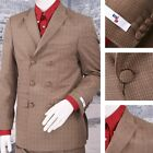Get Up SLIGHT SECOND Double Breasted Slim Fit Check Suit Gold