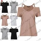 Womens Ladies Strappy Cold Cut Shoulder V Neck Short Sleeve Jersey T Shirt Top