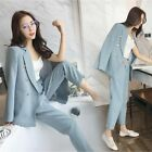 New Fashion Womens Spring Tow Pieces Suits Blazers High Waist Casual Pants S-L