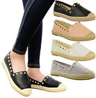Ladies Women Flat Slip On Rock Studs Espadrilles Casual Sandals Pumps Shoes Size