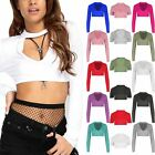 New Womens Ladies Basic Plain Long Sleeve Stretch Choker V Neck Short Crop Top