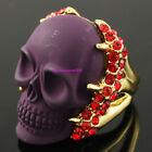 Awesome Purple Skull Red Crystal Gold GP Ring R887
