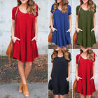 Fashion Women Summer Short Sleeve Casual Blouse Loose Tops T Shirt Dress S/M/L/+