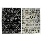 Vintage Quote Memo Board 2 Colours Cream and Black 40cm x 30cm LOVE SMILE HAPPY