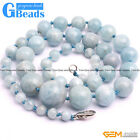 Handmade 6-16mm Graduated Gemstone Beaded Long Necklace 17-22 Inch Free Shipping