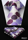 "Polka Dot 3.4""Silk Woven Wedding Men Pocket Tie Necktie Handkerchief Set#RD1"