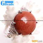 Natural 20mm Coin Round Gemstone Fashion Jewelry Silver Plated Finger Ring GB