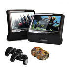"""2x 9"""" LED  Screen Button Car Headrest DVD Player Monitor With /HDMI/IR/FM/Game"""