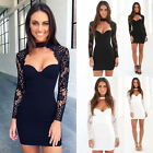 Fashion Women's Summer Lace Long Sleeve Party Evening Cocktail Short Mini Dress