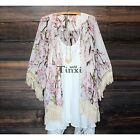 Women Boho Lace Floral Chiffon Kimono Cardigan Beach Cover Up Jacket Coat Hot