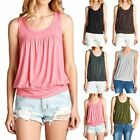 Sleeveless Shirred Front Solid Scoop Neck Tank Top Casual Cute Easy Wear S M L