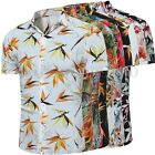Mens Casual Shirt Botton Collared Summer Short Sleeve Floral Holiday T Shirt Top