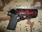 "Colt 45 Commander Model 1911 Rail Ok 4.25"" Barrel Leather Holster Floral Scroll"