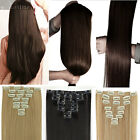 Silky Natural Full Head Clip in on Hair Extensions Extension remy hairpiece SS22
