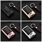 For Cadillac Remote Key Fob Cover Aircraft Aluminum Case Genuine Leather Chain