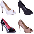 women ladies nude black white peep toe high heel going out party court shoe size
