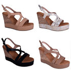 womens ladies wedge high heel summer sandal holiday aztec strappy open shoe size