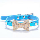 Adjustable Pet Collar Bling Rhinestone Bowknot Faux Leather For Dog Cat Collars
