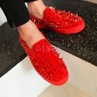 Mens Rivet Spike Studded Leather Flat loafers Shoes Sneaker Low Top Punk Fashion