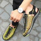 Mens Weave Breathable Roma Hollow Out Casual Sandal Summer Beach Shoes 3 Colors