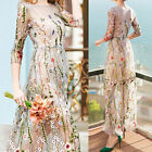 Women Desinger Inspired Flower Embroidery Makings Fairy Long Lady Dress M-2XL