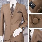 Get Up Clothing Mod 60's Retro 3 Button Slim Mohair Suit Gold
