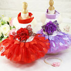 New Dog Dress High-grade Wedding Shiny Leaves Wedding Pet Skirt Red and Purple