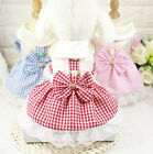 NEW Gorgeous Dog Dress Small Pet Bow Tie Lattice Skirt Clothes Puppy Cat Apparel