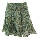 New Womens Skirt Lined Ladies Summer Paisley Print Retro Tiered Skater