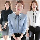 Women's Lady Long Sleeve Fitted Polyester Tops Blouse Shirt Office Casual Wear