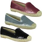 Womens Flat Ladies Sequin Casual Loafers Slip On Espadrilles Pumps Shoes Size