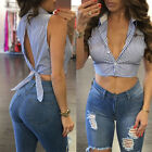 Sexy Summer Blue Striped Back Sleeveless Women's Crop Top Shirt Blouse