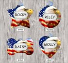 BALD EAGLE AMERICAN FLAG DESIGN #1 PET TAG PERSONALIZED -dfr4Z