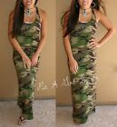 olive green dresses - PLUS SIZE USA OLIVE GREEN CAMO CAMOUFLAGE MILITARY TANK MAXI DRESS XL 1X 2X 3X