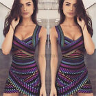 Colorful  Womens Bandage Bodycon Evening Party Club Cocktail Short Mini Dress