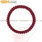 4mm Round Garnet Beads Handmade Weave Elastic Bracelet Jewelry for Women 7''