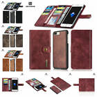 For iPhone 7 Plus Genuine Leather Separable Card Wallet Case + Rigid Back Cover