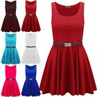 Kids Girls Sleeveless Belted Round Neck Flared Franki Skater Swing Mini Dress