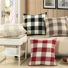 Fashion Plaid Linen Pillow Case Sofa Car Throw Cushion Cover Home Decor Black