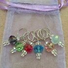 Hand Beaded Crystal Rondelle Stitch Markers for Knitting or Crochet - Beautiful