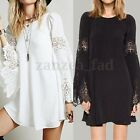 UK 8-24 ZANZEA Women Vintage Crewneck Lace Floral Long Tops T Shirt Mini Dress
