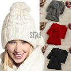 Womens Warm Knitted Handmade Hat and Scarf Set Knitting Skullcaps Knit Cap TXST