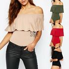 Women Ladies Neckline Ruffle Overlay Bodysuit Bodice Body Top Shirt Sexy YA450