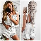 White Striped Sexy Women Backless Strappy Jumpsuit Summer Tank Shorts Rompers