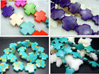 """15mm  20MM Blue, Multi-Color  Turquoise Gems Cross  Spacer Beads Jewelry 16"""""""