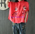 Womens Summer Embroidery Short Sleeve Linen Retro Casual Loose Tops Shirts New